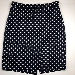 J. Crew Pencil Skirt Navy Blue Polka Dots